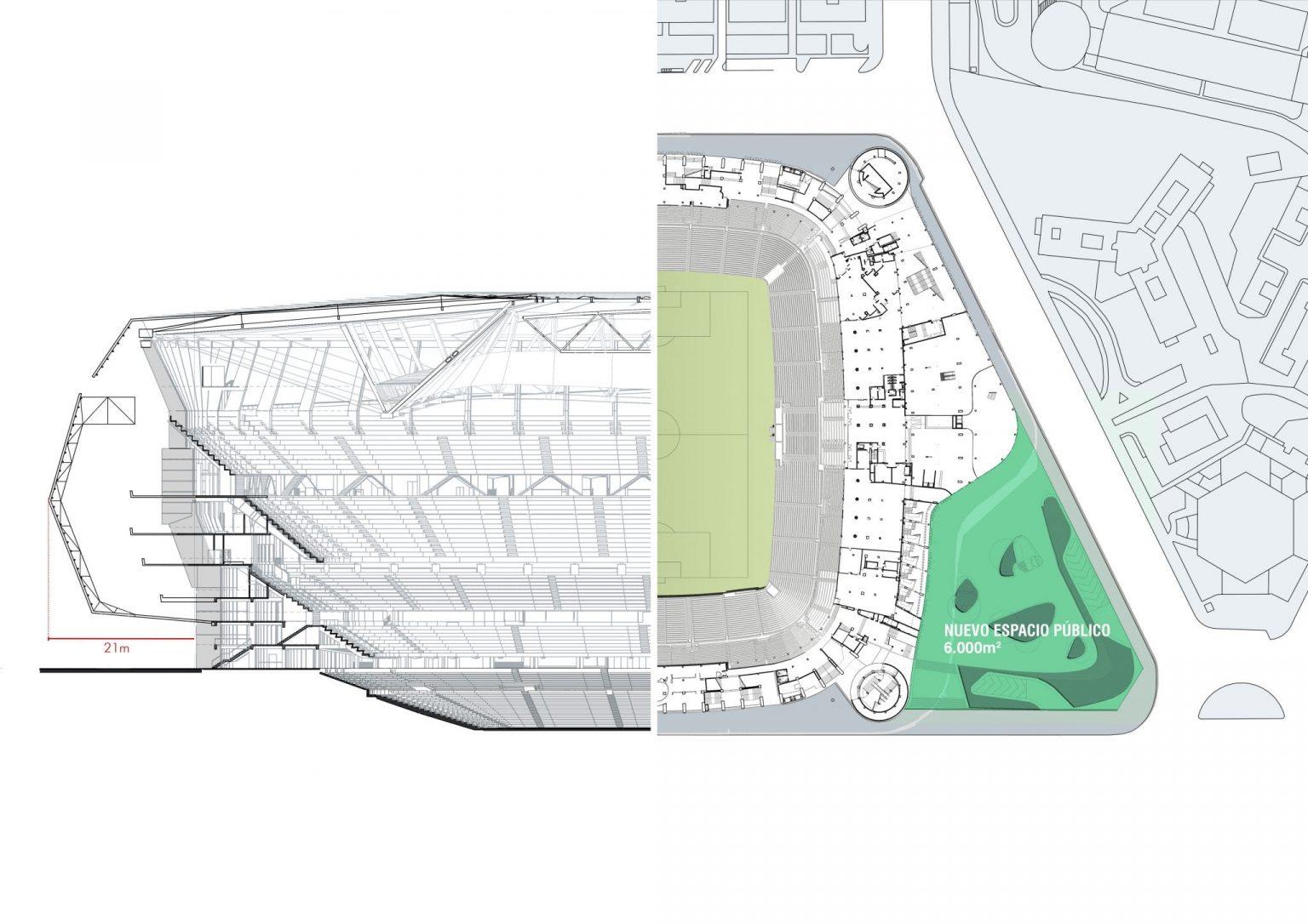sección y vuelo plaza pública